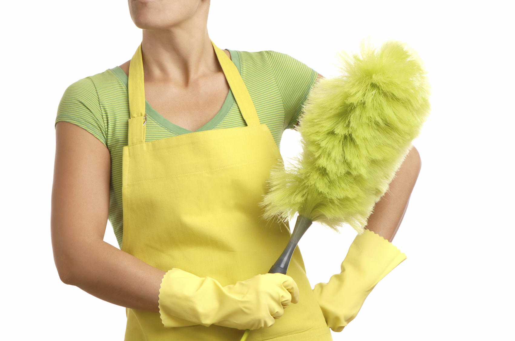 A woman holding a green feather duster