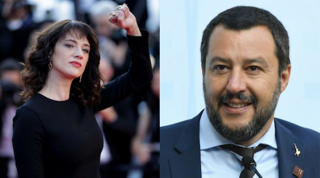 Asia Argento e Matteo Salvini.