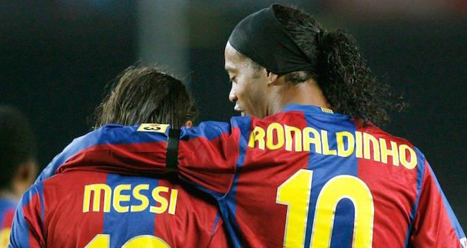 Ronaldinho e Messi al Barcellona