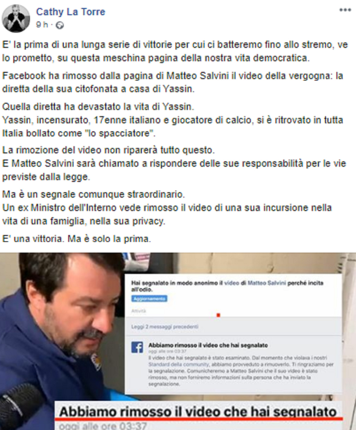 salvini video rimosso
