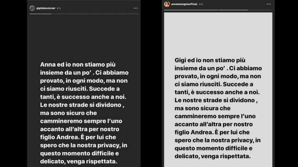 Gigi D'Alessio e Anna Tatangelo si sono lasciati